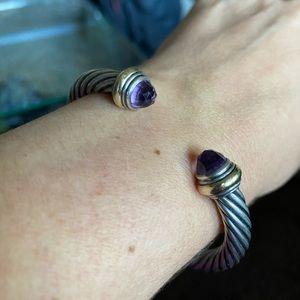 David Yurman Amethyst Cable Cuff Bracelet